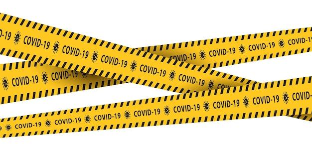 Geïsoleerde waarschuwingstapes met gele en zwarte strepen voor de covid19-pandemie