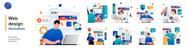 Geïsoleerde webontwerpset ontwerpers maken websitelay-out, plaatsen elementen van scènes in plat ontwerp