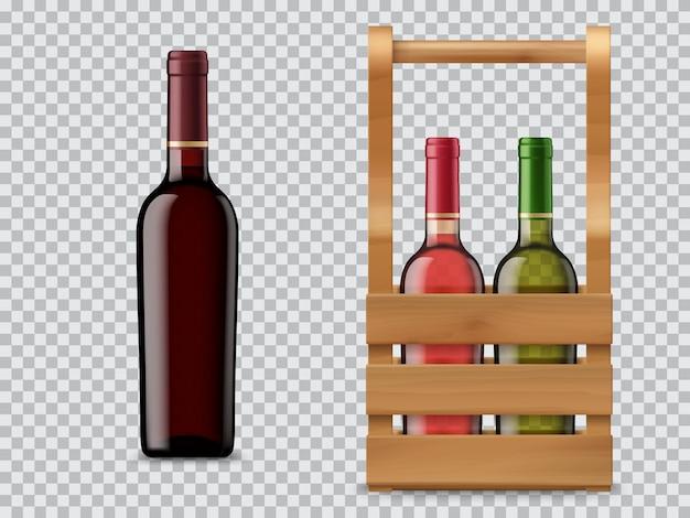 Geïsoleerde wijnfles en houten kist of doos