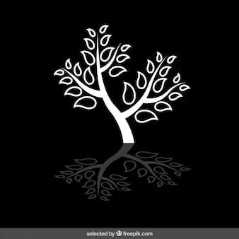 Geïsoleerde witte boom silhouet
