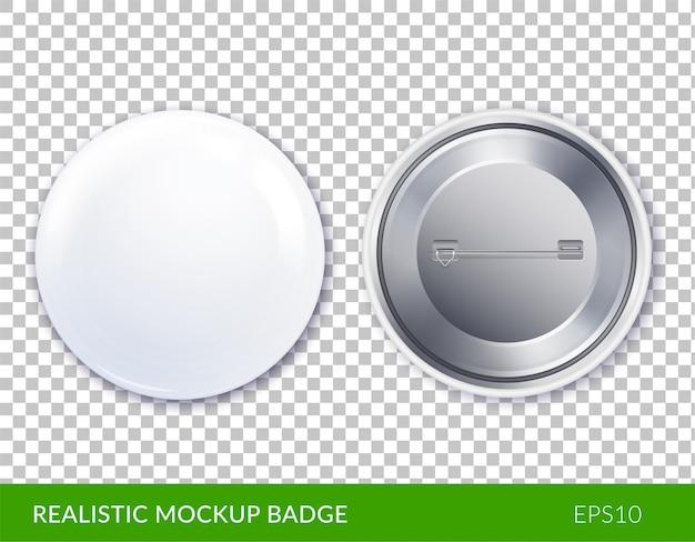 Geïsoleerde witte plastic en realistische mockup badge icon set