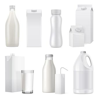 Geïsoleerde witte realistische melkfles pakket pictogrammenset van glas plastic en papier