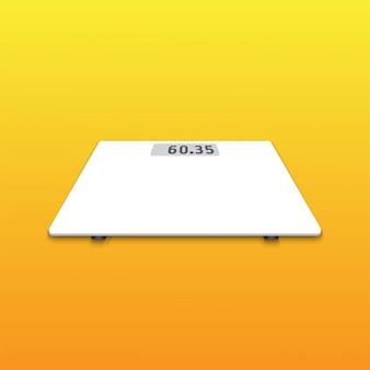 Geïsoleerde witte weegschaal op oranje achtergrond