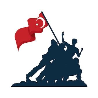 Geïsoleerde zafer bayrami-soldaten met turkse vlag Premium Vector
