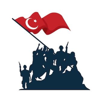 Geïsoleerde zafer bayrami soldaten silhouet met turkse vlag Premium Vector