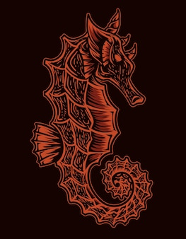 Geïsoleerde zeepaardjes illustratie