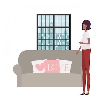 Geïsoleerde zwangere vrouw illustratie