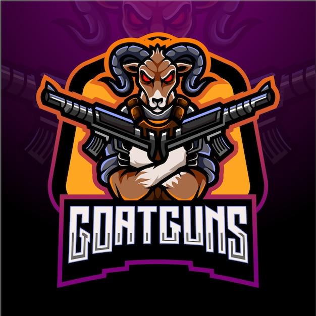 Geit geweren esport mascotte logo ontwerp