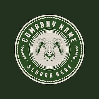 Geit hoofd vintage cirkel badge logo