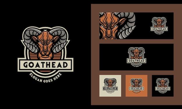 Geit ram hoofd creatieve moderne logo ontwerpsjabloon instellen