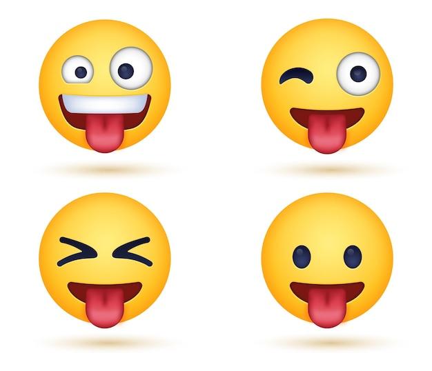 Gek zany emoji-gezicht met uitgestoken tong of grappige knipogende emoticon