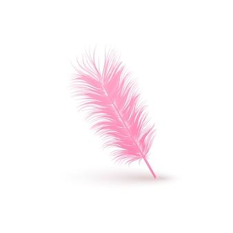 Gekantelde rechte roze veer close-up 3d-realistische geïsoleerd op een witte achtergrond. ontwerpsjabloon clipart van engel of vogel gedetailleerde veer.