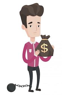 Geketende belastingbetaler met tas met dollarteken.