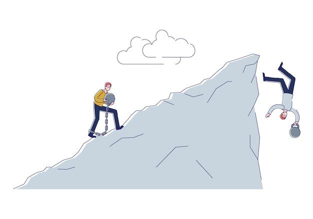 Geketende mensen met lasten die van de klif vallen. financiële schulden mislukken