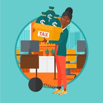Geketende vrouw met zakken vol met belastingen.