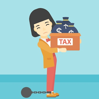Geketende zaken vrouw met zakken vol met belastingen