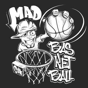 Gekke basketbal slam t-shirt print ontwerp illustratie.