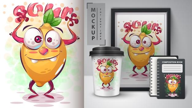 Gekke citroenillustratie en merchandising