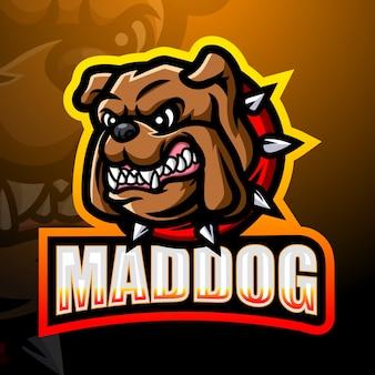 Gekke hond mascotte esport illustratie