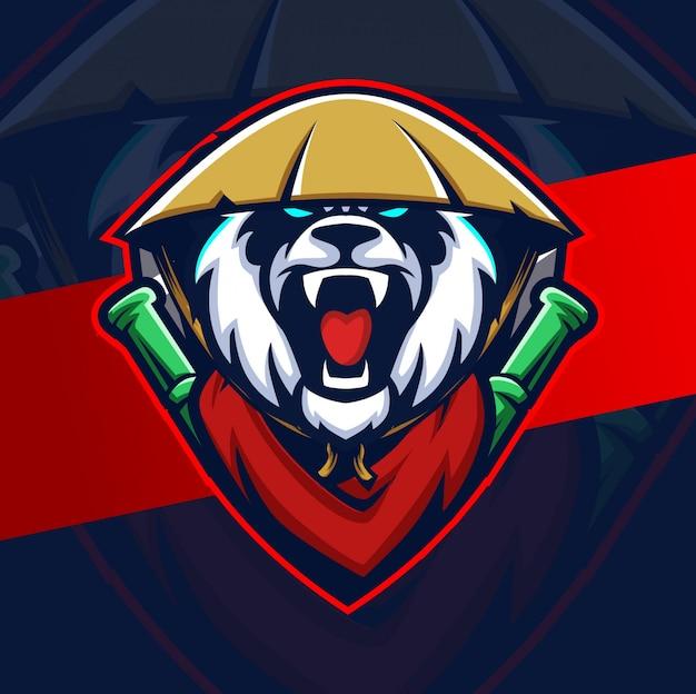 Gekke panda mascotte esport logo ontwerp