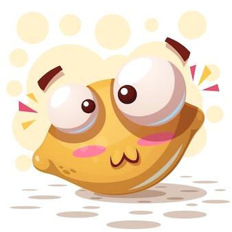 Gekke schattige citroen - cartoon afbeelding