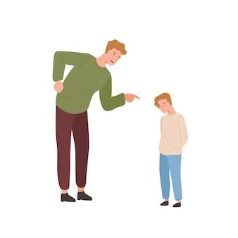 Gekke vader die kleine zoon platte vectorillustratie uitscheldt