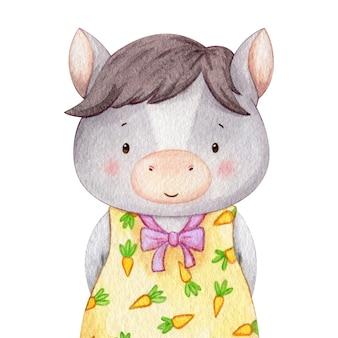 Gekleed pony karakter. aquarel illustratie van klein paard kind