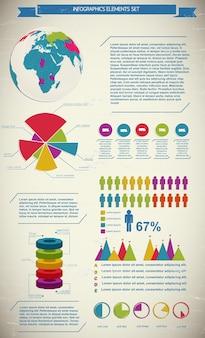 Gekleurd bedrijfsdiagramsjabloon met tekstvelden en een wereldbol