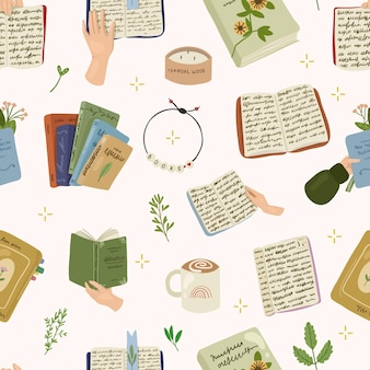 Gekleurd boeken naadloos patroon met bladeren, kaars, koffie en handen die de boeken vasthouden. hand getrokken illustratie lezen.