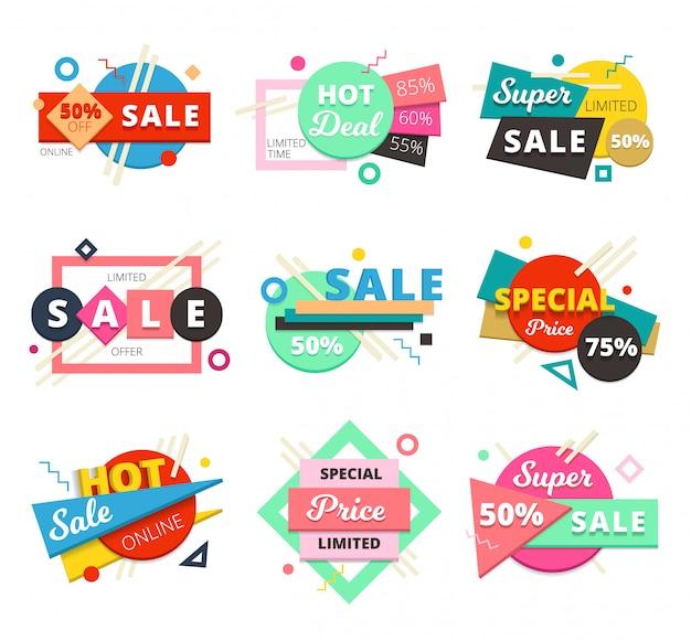 Gekleurd en geïsoleerd verkoop ontwerp geometrisch pictogram ingesteld met super verkoop en speciale prijs beschrijvingen