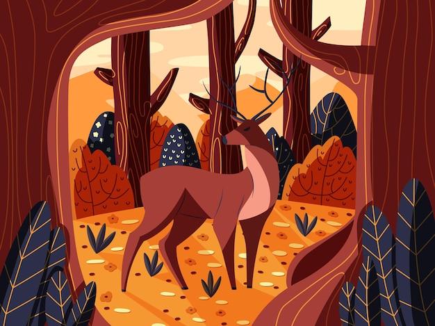 Gekleurd hertenmannetje in bos bij zonsopgang. hand getekend wild dier.