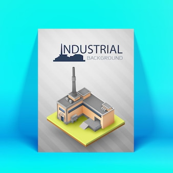 Gekleurd industrieel 3 d achtergrond fabrieksgebouw met magazijn en productie