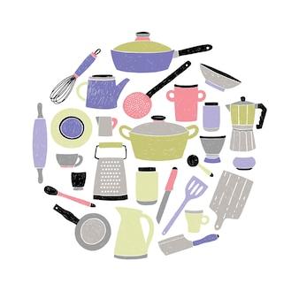 Gekleurd keukengerei dat op witte achtergrond wordt geplaatst. ronde compositie met gestileerde hand getrokken doodle gebruiksvoorwerp illustratie.
