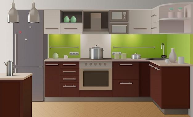 Gekleurd keukeninterieur