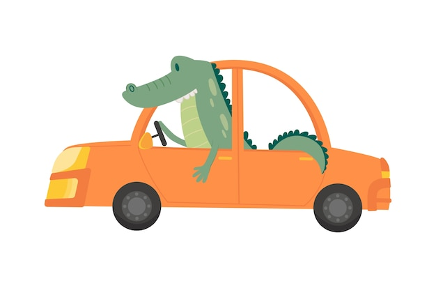 Gekleurd kindertransport met schattige kleine krokodil.