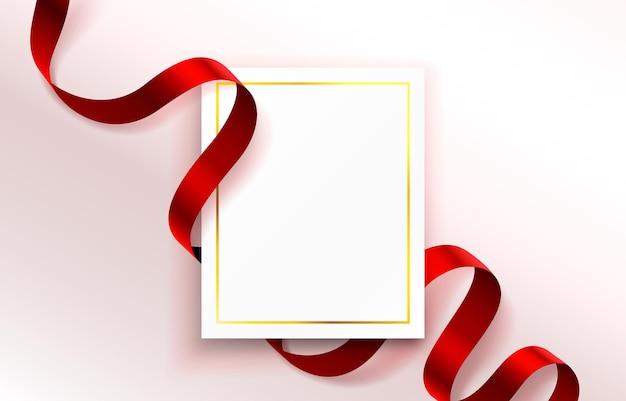Gekleurd lint rond papieren flyer, gouden frame-omslag.