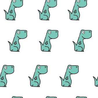 Gekleurd naadloos herhalend kinderpatroon met schattige dinosaurussen voor modekleding, stof