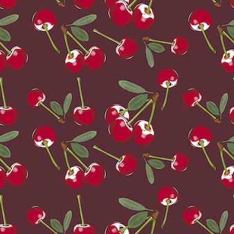 Gekleurd naadloos patroon met kersen in uitstekende stijl