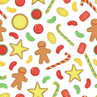Gekleurd naadloos patroon met kerstmis of nieuwjaarelementen op witte achtergrond