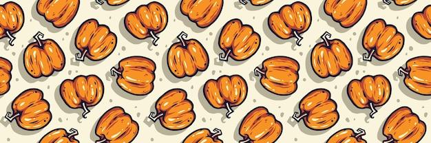 Gekleurd naadloos patroon met pompoen met gezichtsemotie voor halloween-oktoberfeest