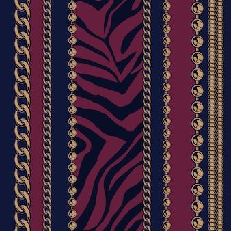 Gekleurd naadloos patroon van kettingen en dierenprints met een donkere achtergrond voor fabriek. alle items zijn in groepen. gemakkelijk om van kleur te veranderen.