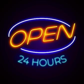 Gekleurd open 24 uur neonreclame