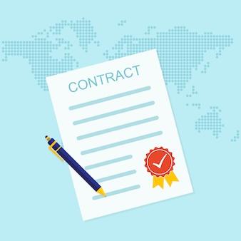 Gekleurd zakelijk contractpictogram. vector illustratie
