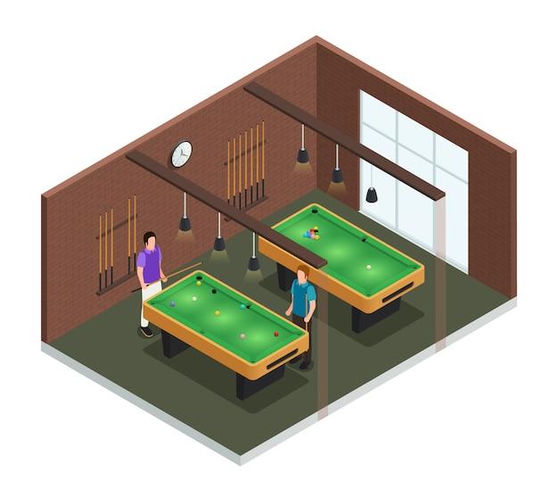 Gekleurde 3d isometrische binnenlandse de samenstellingsruimte van de spelclub met poollijst en spelers vectorillustratie