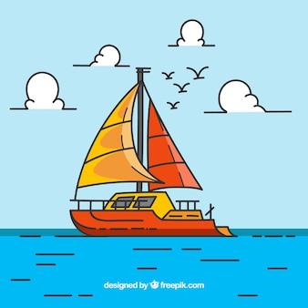 Gekleurde achtergrond met boot en vogels in plat design