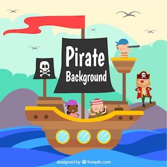 Gekleurde achtergrond met schip en piraten