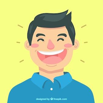 Gekleurde achtergrond van de man aan het lachen