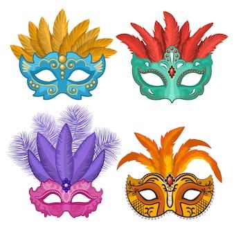 Gekleurde afbeeldingen van carnaval- of theatermaskers met veren