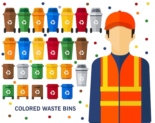 Gekleurde afvalbakken concept achtergrond. vlakke pictogrammen.
