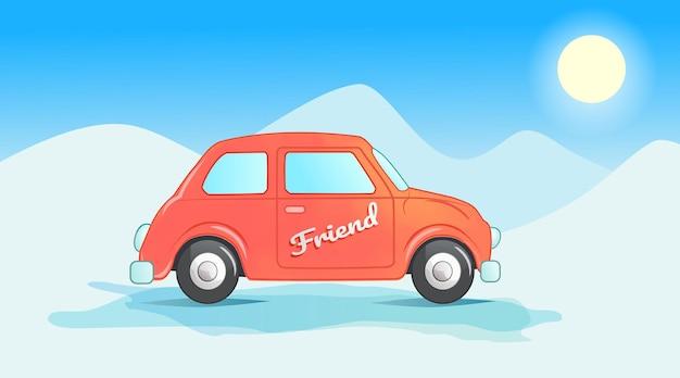 Gekleurde auto met uitzicht op de sneeuw en blauwe lucht premium vector